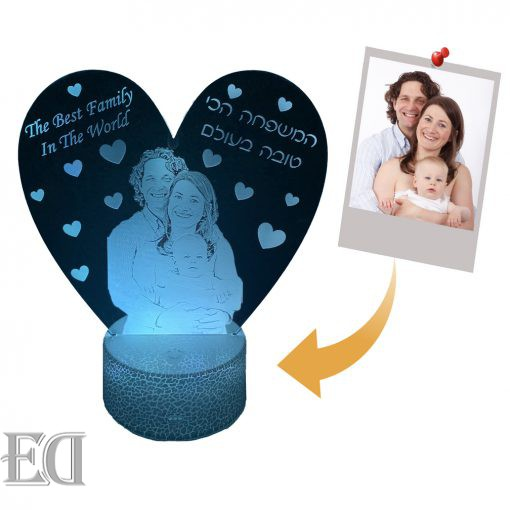 מנורת משפחה לילה בהזמנה אישית עיצוב אישי הקדשה אישית עדן מתנות ED