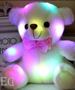 מתנה דובי לבן 20 סמ נדלק אורות-1