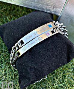 מתנות זוג צמידים קינג קווין כסף-3