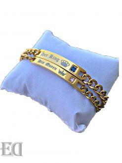 מתנות-לגבר-ולאישה-זוג-צמידים-זהב-קינג-קווין-3