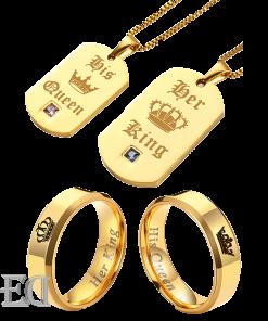 מתנות לגבר ולאישה סט שרשראות וטבעות זהב קינג קווין-1