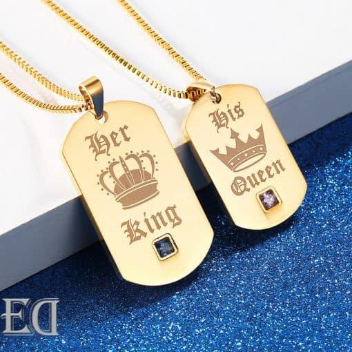 מתנות לגבר ולאישה שרשראות קינג קווין זהב-1