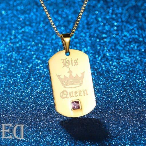 מתנות לגבר ולאישה שרשראות קינג קווין זהב-5