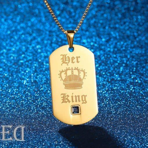 מתנות לגבר ולאישה שרשראות קינג קווין זהב-6