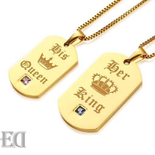 מתנות לגבר ולאישה שרשראות קינג קווין זהב-9