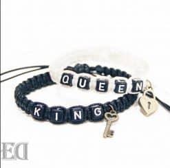 מתנות צמידים חוטי קשירה מלך ומלכה לבן