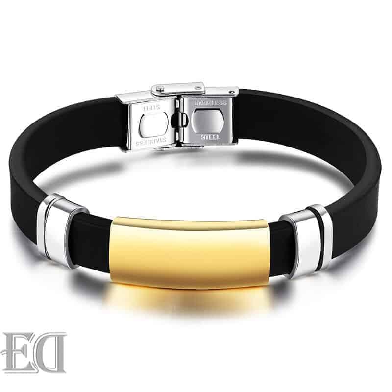 צמיד שחור פלטה זהב בחריטה אישית עיצוב אישי מתנה-1