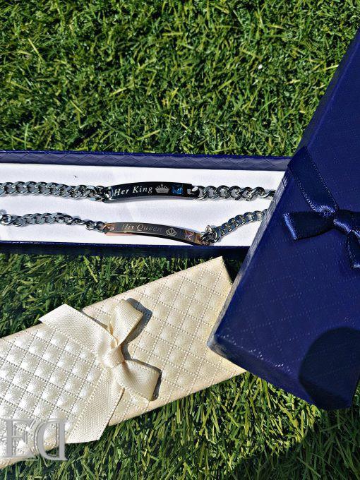 צמידים מלכותיים שחור זהב מתנה ED