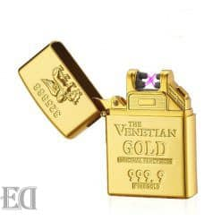 Gold-USB-Rechargeable-Lighter-Windproof-Cigarette-Arc-Plasma-Flameless-Electric-Fashion-Plasma-Lighters-Gadgets-for-Men
